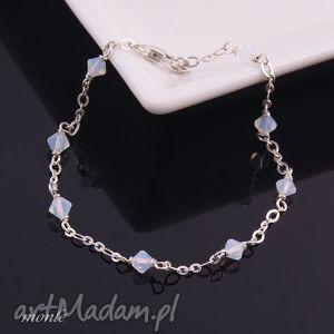 bardzo delikatne white opal bransoletka - biżuteria, biała, srebro