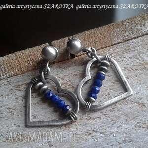 dla wyjątkowej kolczyki z sercami, lapis, lazuli, srebro, oksydowane, serduszko