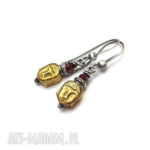 budda / gold/ - kolczyki, srebro, oksydowane, hematyt, granat, budda