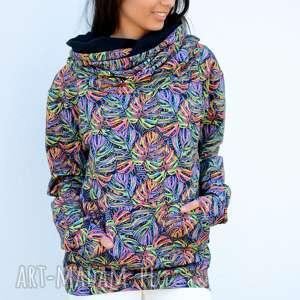 Bluza dresowa z dużym kapturem w tęczowe liście, bluza-szeroka, kolorowabluza,