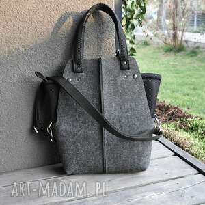 ręcznie zrobione na ramię torebka filcowa wąska - z organizerem do torebki grafitowy