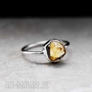 925 Srebrny pierścionek z cytrynem, cytryn, kamień, srebrny, srebro, żółty,