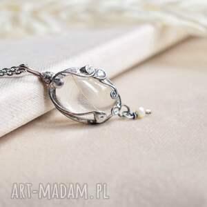 handmade naszyjniki white - naszyjnik z prawdziwym liściem w szkle