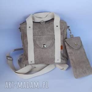 plecak/torebka 2w1 piaskowy beż - zamsz, nubuk etui na telefon lub okulary