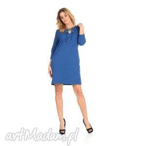 46-sukienka sznurowany dekolt,c.niebieska,rękaw 3/4, lalu, sukienka, dzianina