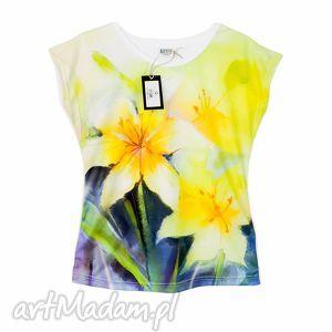 bluzki artystyczna bluzka damska z wiosennym motywem lilii, tunika, modna, kolorowa