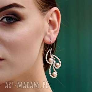 perłowe pióra - kolczyki srebrne a425, długie kolczyki, perły