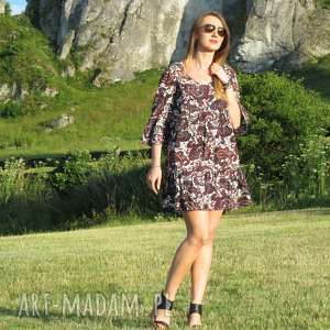 47-letnia wzorzysta sukienka, lalu, wiskoza, letnia, falbana, zwiewna