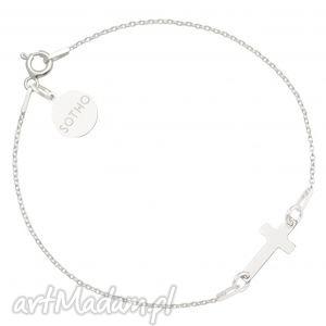 srebrna bransoletka z krzyżykiem - łańcuszek, zawieszka