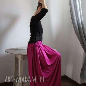 spódnice zwiewna lejąca się długa spódnica boho fuksja, spódnica, długa, letnia