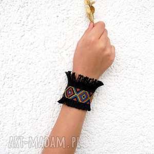 florence - czarna bransoletka etno, szeroka, mankietowa, aztecka, etniczna