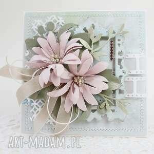 ręcznie robione scrapbooking kartki z kwiatami - w pudełku