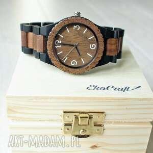 unikalny, drewniany zegarek crow, drewniany, bransoleta, prezent, drewno, męski