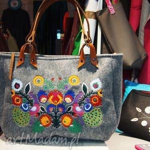 beauty folkowa torba z filcu xl, mana mana, torebka, filcowa, haft, haftem