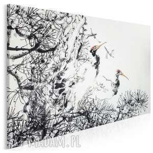 obraz na płótnie - żurawie japonia 120x80 cm 61901, żuraw, żurawie