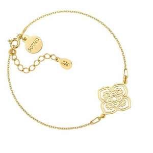 złota bransoletka z dużą rozetką - pozłacana, zawieszka