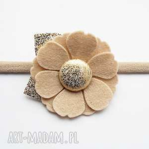 Opaska do włosów kwiatek kolekcja Roma, opaska, elastyczna, niemowlęca, kwiatek, filc