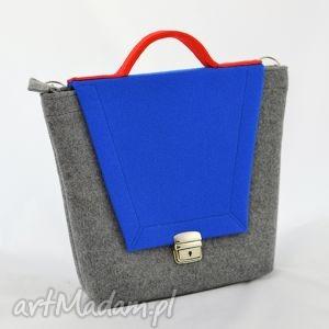 torebka filcowa - trapezówka z niebieską klapą, filc, filcowa, trapez, nowoczesny