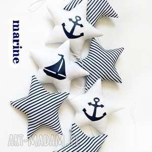 marine - girlanda/paseczki biało-granatowe, girlanda, marine, łódka, kotwica