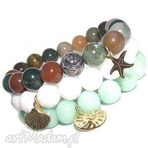 pod choinkę prezenty, komplet ocean 3 bransoletki, muszla, rozgwiazda, morska, agat