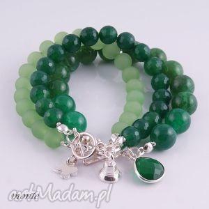 monle zielono mi, bransoletka z agatów, zielona, bransoletka, agat, srebro, biżuteria
