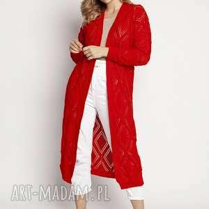 długi, swetrowy płaszczyk - pa012 koral mkm, kardigan, długi sweter, ażurowy