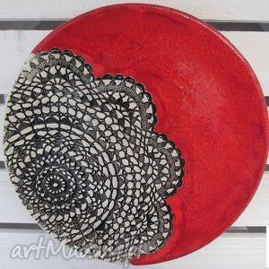 ręcznie wykonane ceramika czerwień z koronką