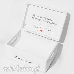 Ślubne pudełko na koperty Kopertówka Personalziowane Just married, dużepudełko
