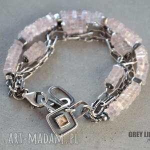 różowy kwarc bransoletka srebrna, srebro, 925, kwarc, różowy