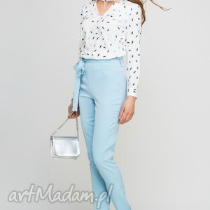 bluzki bluzka, blu132 parasolki niebieskie, choker, wzór, elegancka, biuro, praca