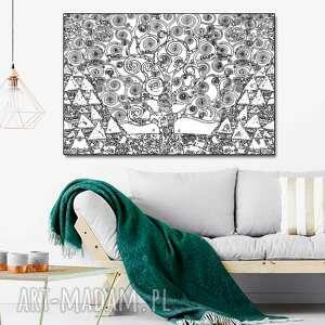 obraz drzewo życia czarno białe, 120 x 80, nowoczesny obraz