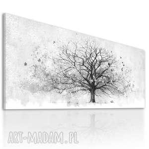 Elegancki obraz z motywem drzewa wydrukowanym na płotnie, czarno-białe drzewo, duży