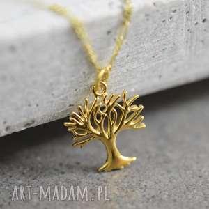 ręcznie zrobione naszyjniki 925 pozłacany srebrny łańuszek drzewo życia