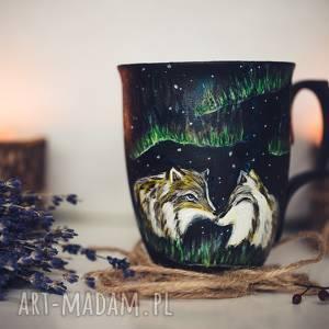 Prezent kubek zakochane wilki i zorza polarna, zorza-polarna, wilk, kubek-wilki
