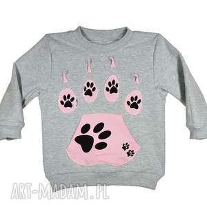 handmade szara bluza, dresowa, bawełna, psie łapy, rozm. 68 -116 róż