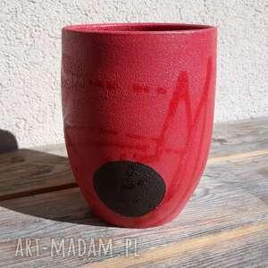 wazon czerwony półmatowy, wazon, ceramika, glina, rękodzieło