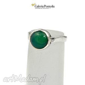 Pierścionek z zielonym onyksem, pierścionek, srebrny, 925, onyks