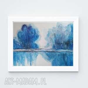 niebieskie drzewa-akwarela formatu 18/24 cm, akwarela, papier, drzewa