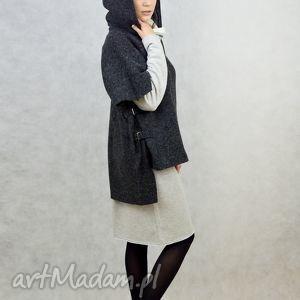 płaszczyk-ocieplacz wełniany oversize grafit, płaszcz, ocieplacz, wełna