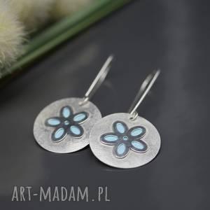 srebrne kolczyki wiosenny kwiat, turkus