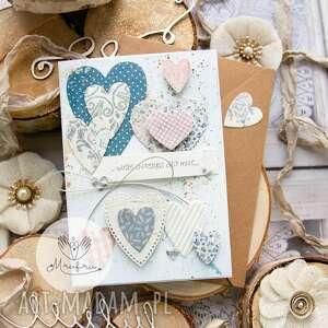 handmade scrapbooking kartki kartka z sercami, przestrzenna. Miłosna. Walentynki