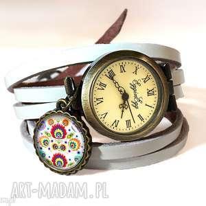 Zegarek bransoletka Folk, zegarek-damski, ludowe-kwiaty, zegarek-skórzany