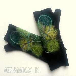 hand-made rękawiczki mitenki zielenie
