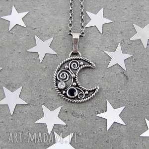 ręczne wykonanie naszyjniki arabeski na księżycu z szafirem
