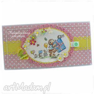 mam roczek - kartka urodzinowa dla dziewczynki - dziewczynka, roczek, guzik, miś