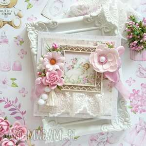 Kartka na chrzest różowa w pudełku scrapbooking kartki made by