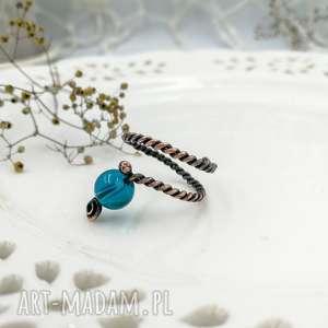blue glass - pierścionek spiralny z miedzi, mini