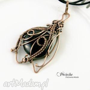 minerwa - naszyjnik w czerni - naszyjnik, miedź, wisior, czarny, retro, wirewrapping