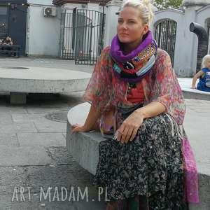 ręcznie zrobione szaliki komin kolorowy szyty patchworkowo na podszewce handmade