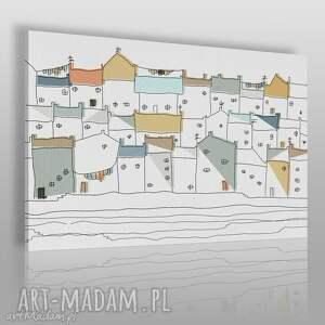 obraz na płótnie - domki miasto 120x80 cm 47301, domki, miasto, pastele